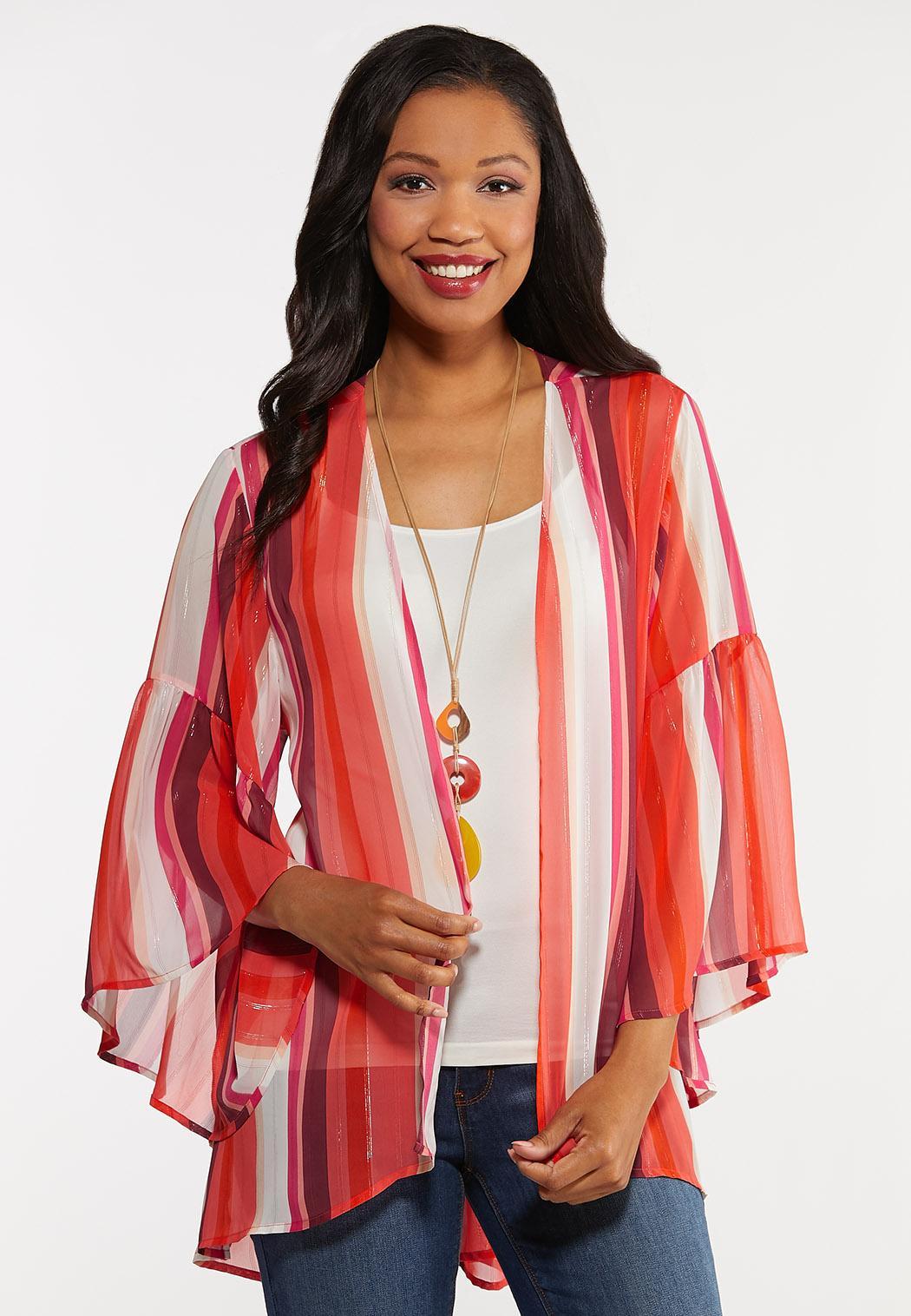 Striped Bell Sleeve Kimono