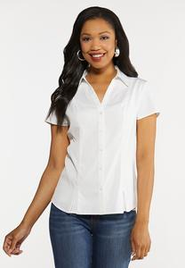 Plus Size White Pleated Hem Shirt