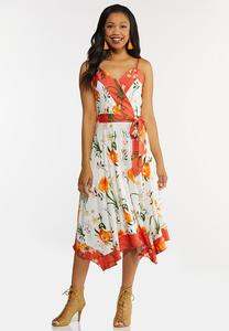 Floral Border Hanky Hem Dress
