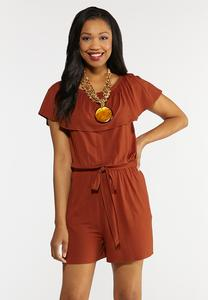 Plus Size Ruffled Rust Romper