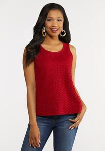 Eyelet Scoop Neck Tank