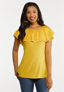Plus Size Convertible Ruffled Top