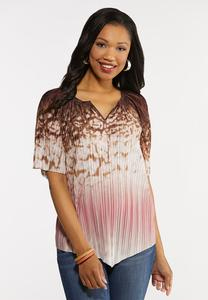 Plus Size Pleated Brown Dye Top