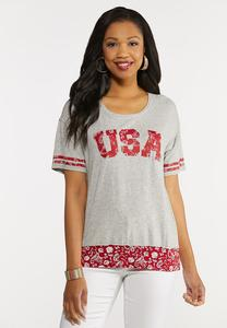 Plus Size USA Baseball Tee