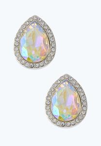 Rhinestone Tear Halo Earrings