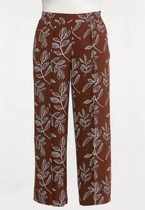 Plus Size Brown Leaf Palazzo Pants