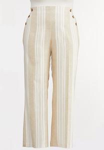 Plus Size Sailor Button Linen Pants