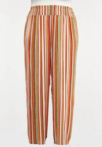 Plus Size Striped Smocked Palazzo Pants