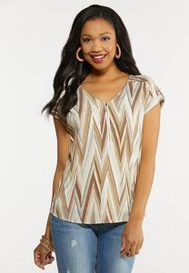 Plus Size Neutral Chevron Top