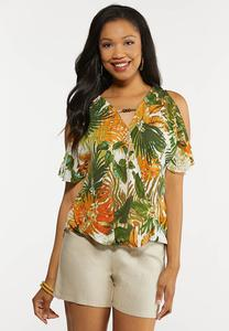 Plus Size Tropical Flutter Sleeve Top