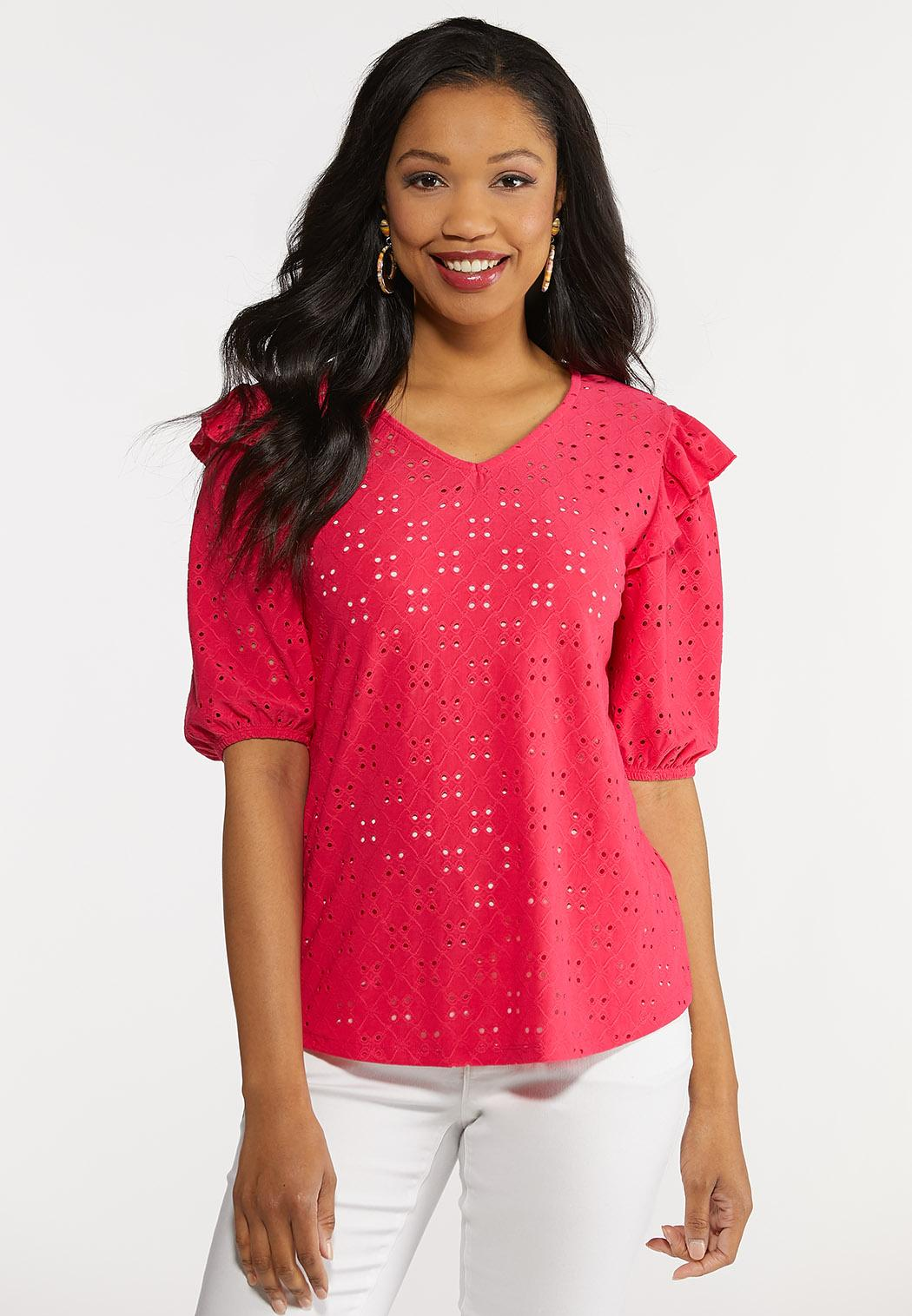 Plus Size Eyelet Balloon Sleeve Top