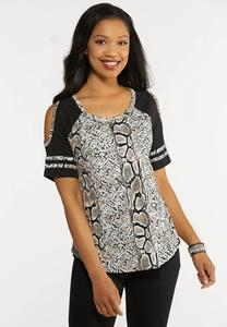 Plus Size Snake Print Cold Shoulder Tee