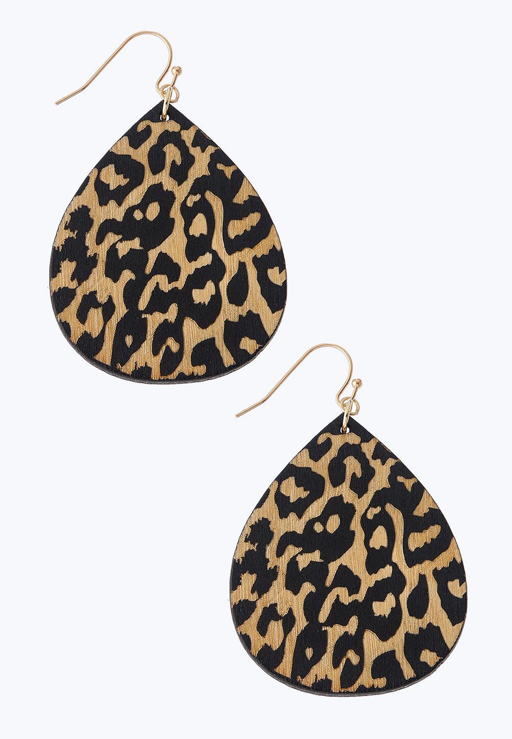Leopard Wooden Earrings