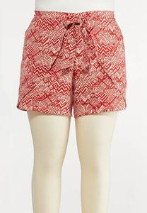 Plus Size Tribal Tie Front Shorts