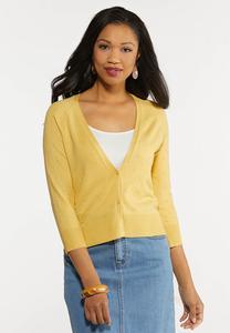 Plus Size Cropped Cardigan Sweater