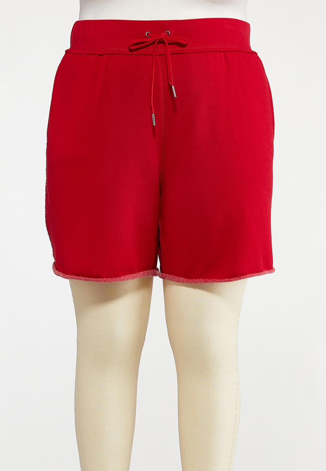 Plus Size Red Fleece Lined Shorts