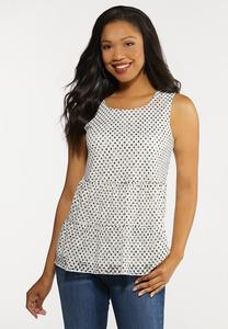 Plus Size Polka Dot Lace Tiered Tank