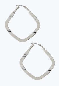 Wavy Metal Squared Hoop Earrings