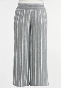 Plus Size Vintage Stripe Linen Pants