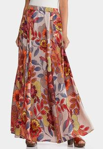 Plus Size Floral Wide Sweep Maxi Skirt
