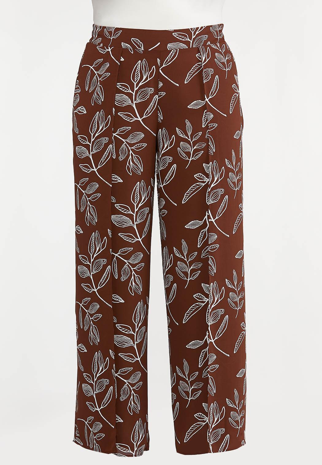 Plus Petite Brown Leaf Palazzo Pants