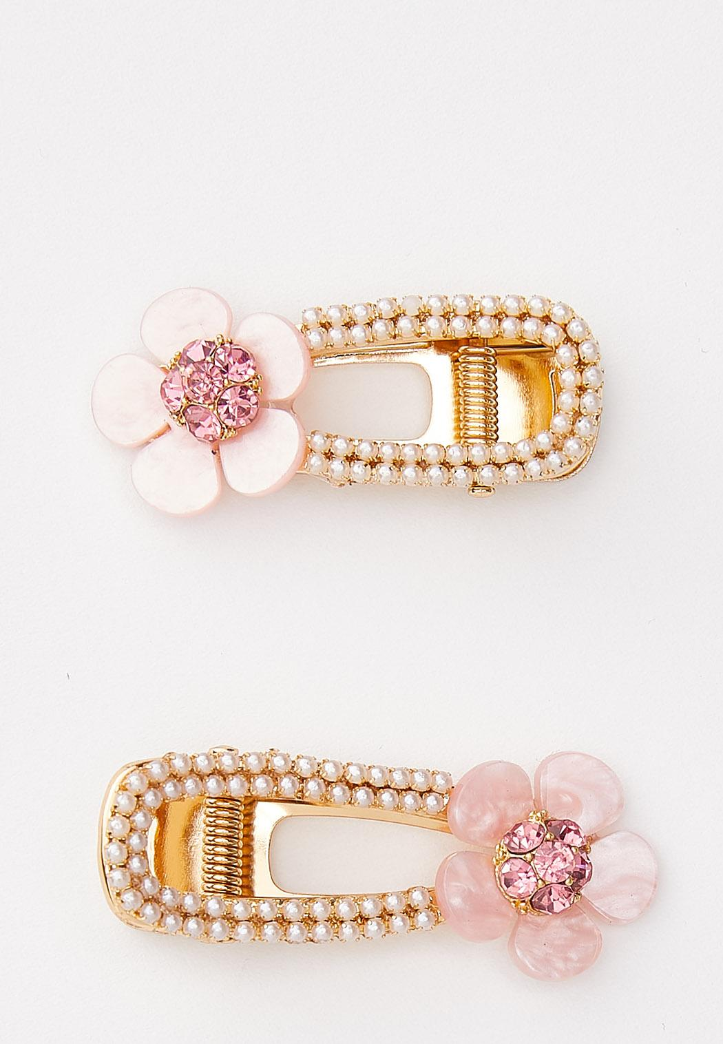 Flower Pearl Barrette Set