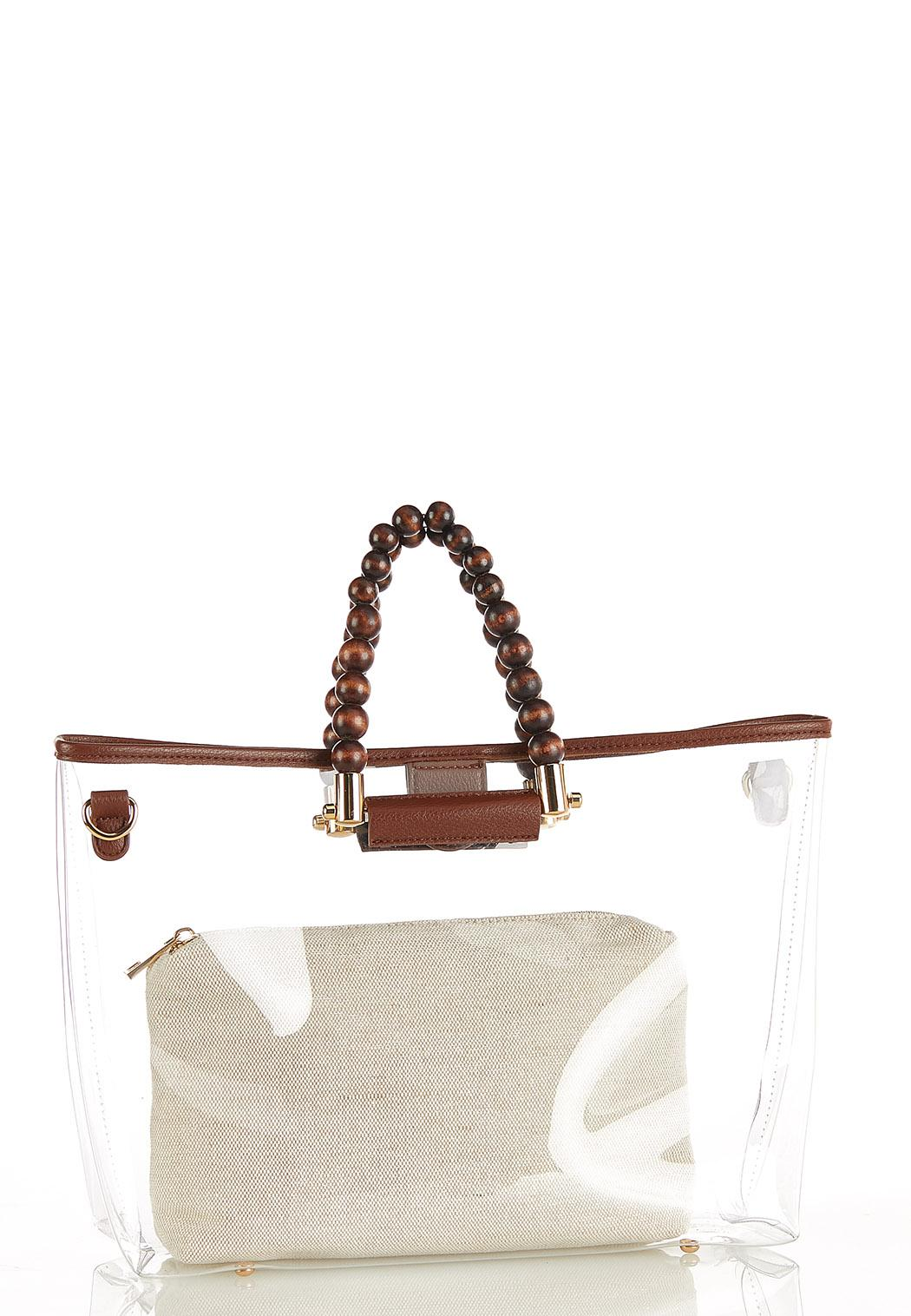Lucite Wood Bead Tote