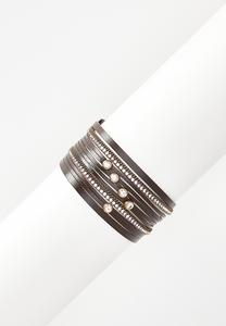 Faux Leather Multi Band Bracelet