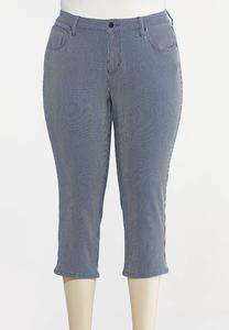 Plus Size Cropped Nautical Stripe Pants