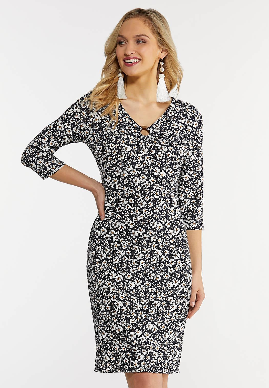 Navy Floral O-Ring Dress