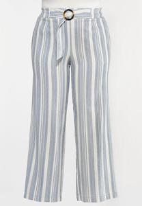 Plus Size Belted Stripe Linen Pants