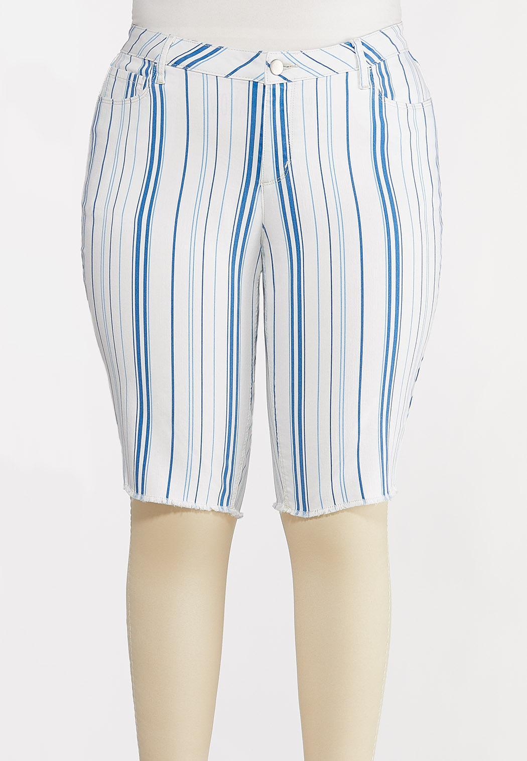 Plus Size Blue Stripe Shorts