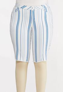 Plus Size Blue Stripe Shorts
