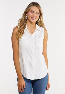 Button Down Sleeveless Shirt