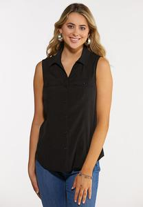 Button Down Sleeveless Shirt
