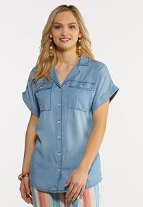 Chambray Cuffed Sleeve Shirt