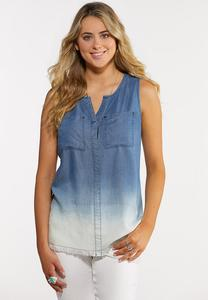 Plus Size Ombre Denim Tank