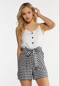 Gingham Shorts Romper