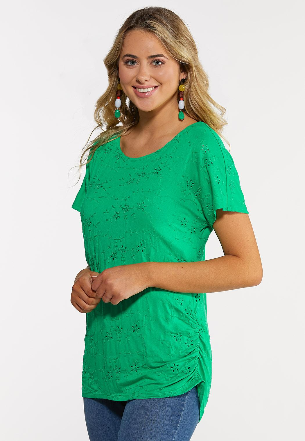 Eyelet Ruched Tee