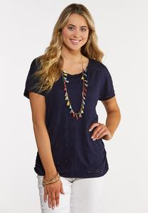 Plus Size Eyelet Ruched Tee