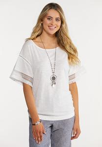 Plus Size Fringe Sleeve Solid Top