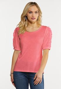 Puff Ruffled Sleeve Knit Top