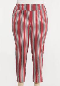 Plus Size Stripe Ankle Pants