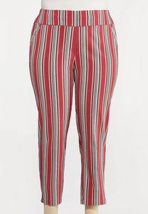 Plus Size Stripe Ankle Pants