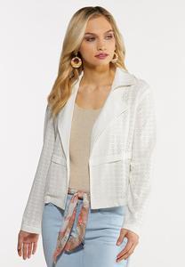 Eyelet Knit Moto Jacket
