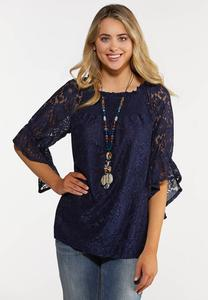 Plus Size Floral Lace Poet Top