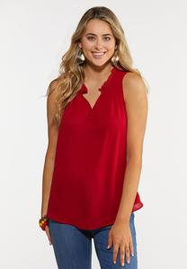 Plus Size Ruffle V-Neck Sleeveless Top