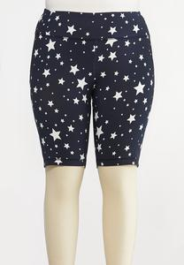 Plus Size Star Biker Shorts