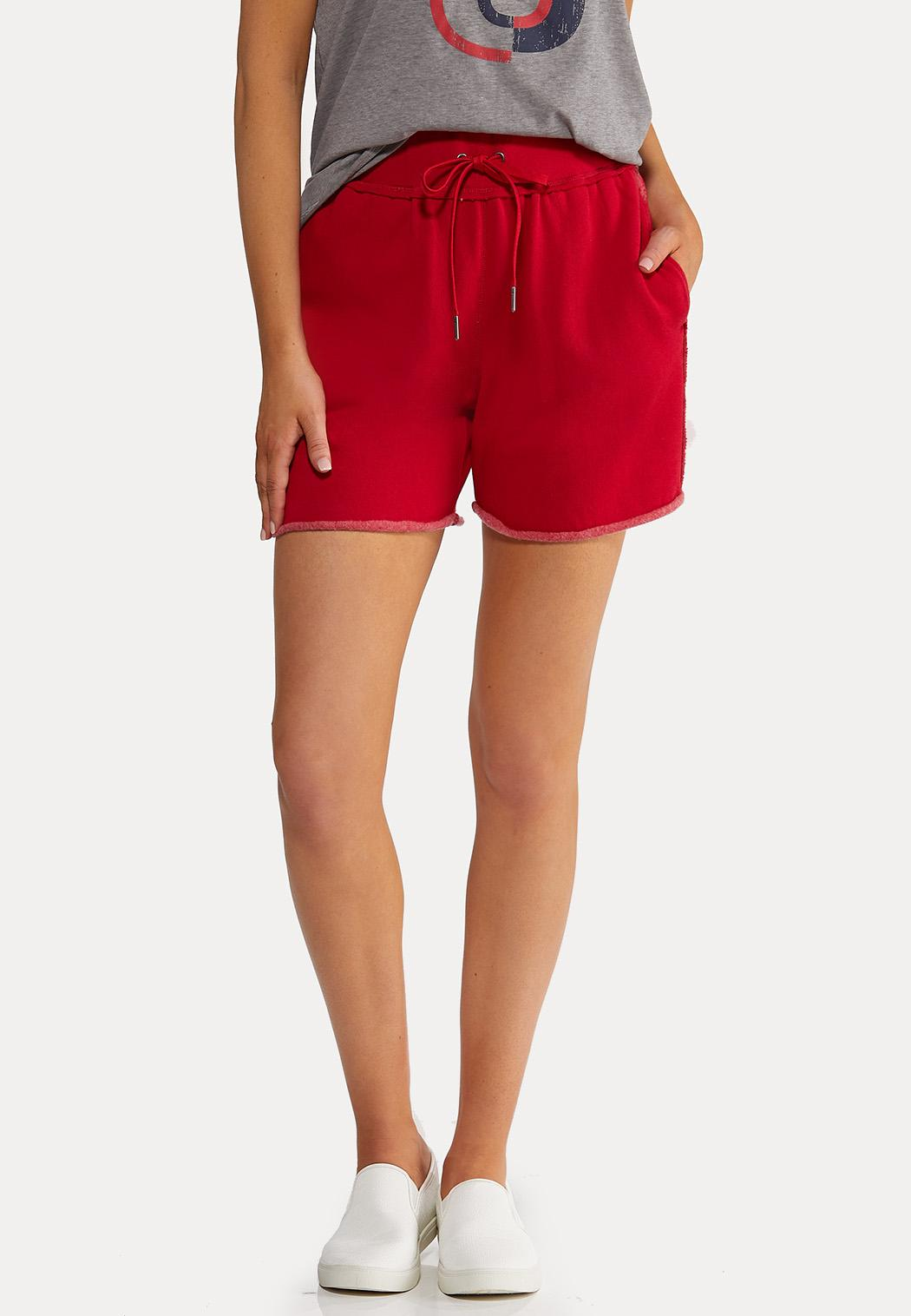 Red Fleece Lined Shorts