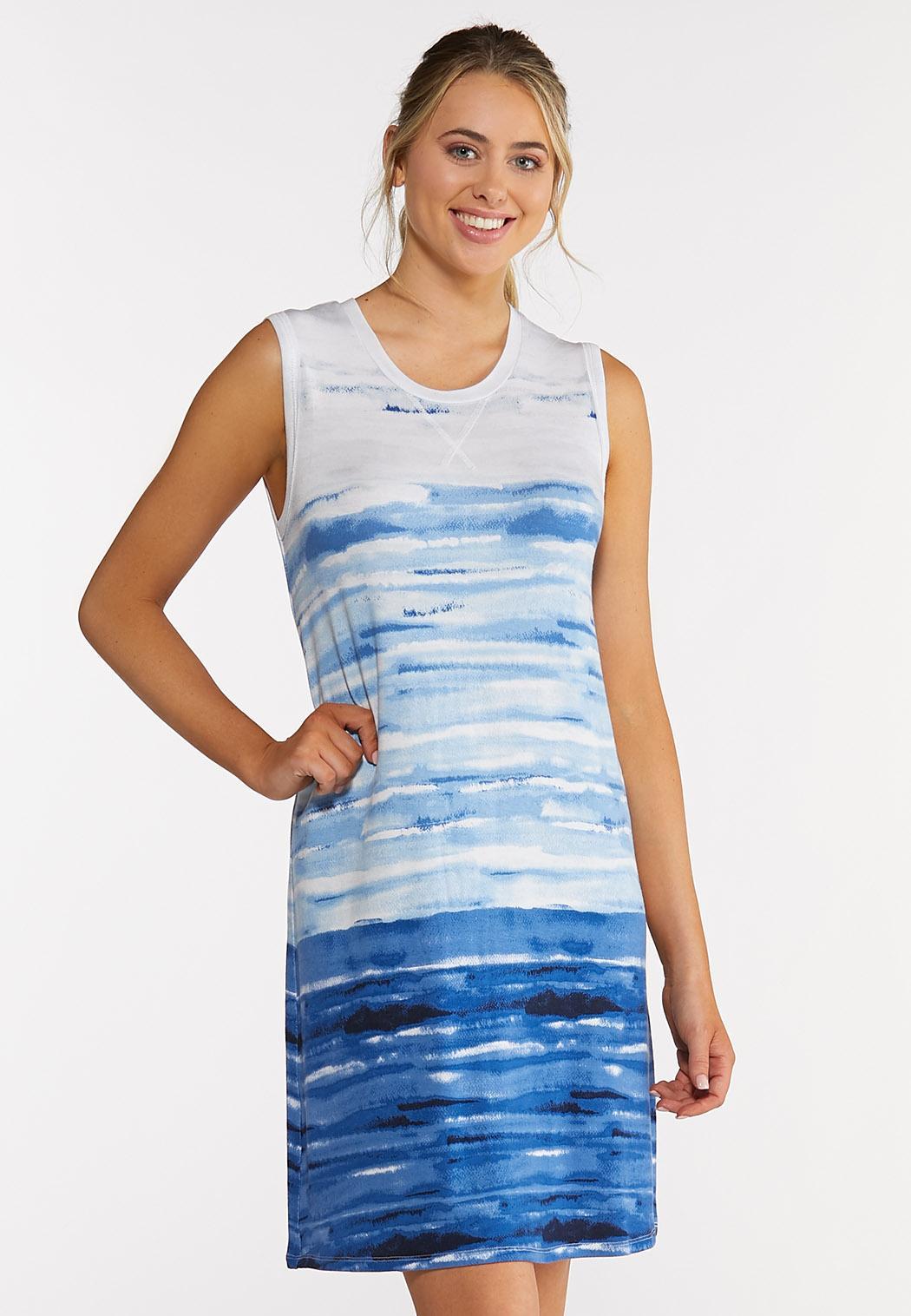 Plus Size Blue Tie Dye Dress